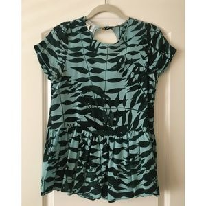 Anthropologie palm print peplum top